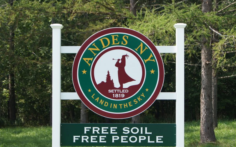 The Town of Andes New York Sign